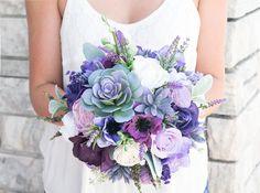Custom Lush Plum Purple Lilac Wedding Succulent Anemones and