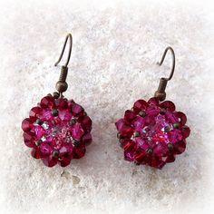 U-Boutique Shops   Burgundy,Pink,Swarovski crystals earrings,Handmade earring,Beadwork earring,Woman earrings,Statement earring,Unique earring   tami peretz