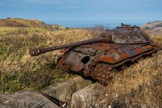 Abandoned Russian tanks on Shikotan island
