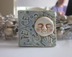 Peace Moon Christmas Ornament Tile Ceramic by IslandGirlPottery, $10.00
