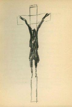 By Henri Michaux, 1956, Quatre cents hommes en croix. (Belgian-born poet, writer, and painter)