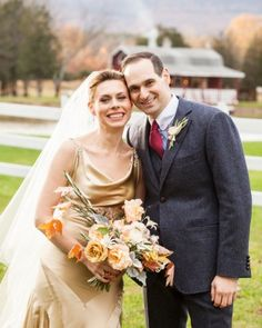 "See the ""The Couple"" in our Hanna and Jimm's Outdoor Fall Wedding in the Hudson Valley gallery  #KarenWisePhotography #WeddingVeil #CatskillsWedding #HudsonValley"