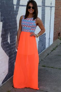 maxi dress neon