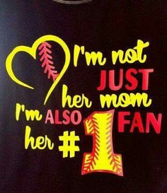 im not just her mom im her fan; softball mom T-shirt; softball mom tank top by Jkdezign on Etsy Volleyball Mom Shirts, Softball Crafts, Softball Quotes, Softball Pictures, Girls Softball, Baseball Mom, Baseball Shirts, Softball Stuff, Softball Cheers