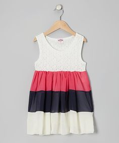 Kosse Designs Ivory & Hot Pink Tier Chiffon Dress