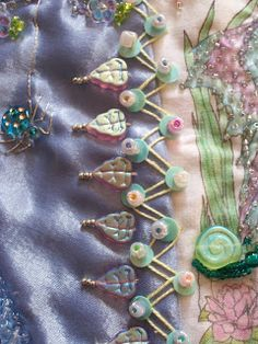 Charms, beads & sequins to embellish a CQ seam