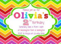 Rainbow Birthday Invitation  Printable and Custom by 3PeasPrints, $16.00
