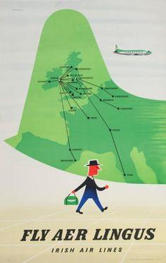 Fly Aer Lingus - Irish Air Lines ~ Tom Eckersley Vintage Advertising Posters, Vintage Travel Posters, Vintage Advertisements, Vintage Airline, Advertising Signs, Dublin, Travel Illustration, Illustrations, Branding