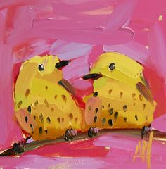 Two Yellow Warblers no. 9 original bird oil painting by Angela Moulton 6 x 6 inch on panel pre-order by prattcreekart on Etsy Bird Artists, Watercolor Paintings, Oil Paintings, Watercolors, Painting Inspiration, Birds, The Originals, Yellow, Prints