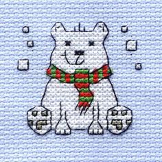 Mini Cross Stitch Kit Polar Bear 64 X 64 Mm | Hobbycraft