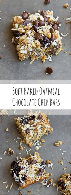 These Soft Baked Oatmeal Chocolate Chip Bars are soooooft and oooh so gooooewy. Healthy enough for a breakfast bar or enjoy as snack or dessert any time of day. Love the chocolate chunks in every bite! Vegan and Gluten Free. #recipe #bars #vegan #glutenfree #oats #breakfast