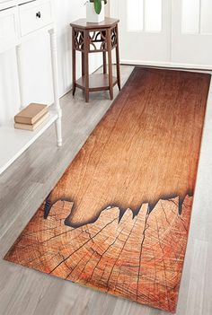 Wood Grain Print Water Absorption Bath Bathroom Rug