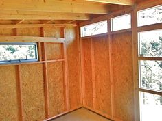 www.studio-shed.com An example of what the interior of an unfinished storage Studio Shed might look like - plenty of amazing natural light and options for shelving and hooks.  Or, a blank slate for our Do it Yourself Interior option! #storage #studio #shed #home #prefab #backyard #outdoor #modern