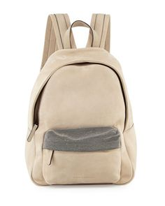 V2U8X Brunello Cucinelli Calfskin Backpack w/Monili Straps, Dove