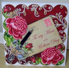 Deep Pink Rose Claret Mam Mothers Day 8in Decoupaged Card.