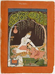 Shiva, both a yogi and a family man, caresses his sleeping wife, Parvati. (The Immortal Marriage) 1700-25. Mankot, India