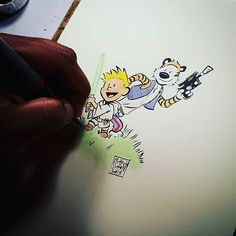 Awesome #CalvinandHobbes #StarWars #cosplay #penandink #drawing by Matt Sutton (Twitter: @mattsuttonart) up for #auction at Matt's IG @sketchbooks.  I suppose it's not actually #LukeSkywalker and #HanSolo COSPLAY persay because Calvin's always imagining his way into cool #adventures. The real question... #WhoWouldWin in a fight? Han Solo or #SpacemanSpiff? Anyway did I mention this is awesome? Another great one Matt!  #CreativeAirship