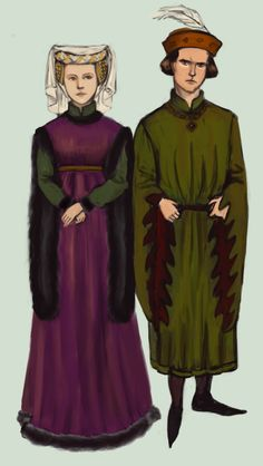 1400 A wealthy couple from the first half of the 15th century, both wearing houppelande. Western Europe by Tadarida.deviantart.com on @DeviantArt