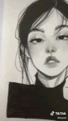 Sketchbook Drawings, Art Drawings Sketches Simple, Realistic Drawings, Girl Pencil Drawing, Pencil Art Drawings, Cartoon Art Styles, Aesthetic Art, Art Tutorials, Cute Art