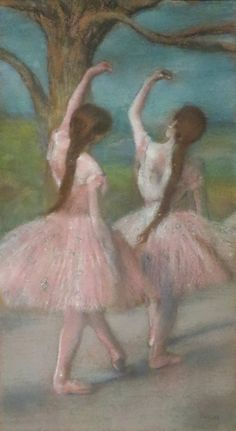 "Dancers in Pink (c.1886). Edgar Degas (French, 1834-1917). Pastel on paper, mounted on cardboard. The Norton Simon Museum. This picture is a pure pastel, whose range of textures—from gleaming silk to airy tulle to powdery, gas-lit flesh—Degas seems to have achieved without wetting or mixing media. Two corps de ballet dancers, peculiarly anonymous in their matching costumes and poses, turn ""upstage,"" away from an imaginary audience beyond the picture plane."