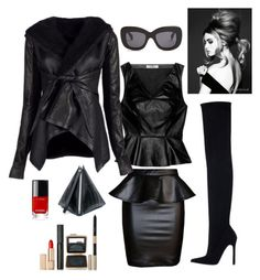 """""""Night out in Chicago!"""" by kotnourka ❤ liked on Polyvore featuring Robert Rodriguez, Zara, Rick Owens, McQ by Alexander McQueen, Estée Lauder and CÉLINE"""
