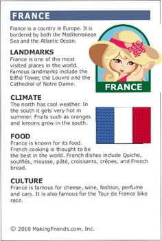 Facts about France MakingFriends Facts about France Printable Thinking Day fact card for our passports. Perfect if you chose France for your Girl Scout Thinking Day or International Night celebration. Id France, France For Kids, Around The World Theme, Kids Around The World, Girl Scout Troop, Girl Scouts, France Craft, Little Passports, Culture Day
