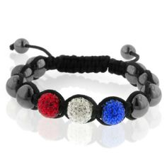 """""""Fireworks"""" Shamballa Bracelet (10mm Red, White & Blue Crystal Friendship Bracelet) /Adjustable-Unisex Netaya. $12.95. IN HONOR OF THE JULY 4TH HOLIDAY WE ARE OFFERING A BRACELET WITH CRYSTAL ACCENT AS BRIGHT AS A JULY 4TH FIREWORKS SHOW"""