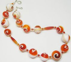 Sale Orange and White Shell Necklace Unique by MyGemstoneDesigns