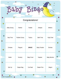 baby bingo baby shower game; I would give each guest a card right before opening presents, when the present matching one of the baby items is opened they cross it off, first to get bingo wins a small prize