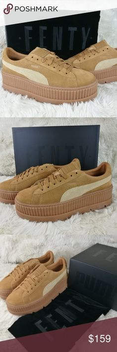 FENTY PUMA Rihanna Suede Cleated Creepers Size 9 New in box, Fenty Puma Rihanna Suede Cleated Creepers in Golden Brown-Lark. Platform sneakers in a neutral brown on tan color combo. Suede leather upper with a satin Puma stripe and matte tan bottom platforms. Includes luxurious dustbag, all inside tissues and stuffing with original box. Women's size 9. Puma Shoes