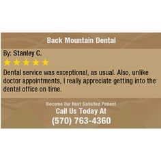 Dental service was exceptional, as usual.  Also, unlike doctor appointments, I really...