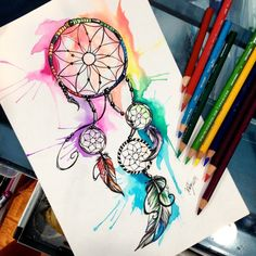 This design is for sale I've decided to make a little series of colorful tattoo designs. Do all my tattoo designs contain dreamcatchers? Coeur Tattoo, Atrapasueños Tattoo, Piercing Tattoo, Tattoo Drawings, Pencil Drawings, Piercings, Dream Catcher Drawing, Dream Catcher Tattoo, Dream Catchers