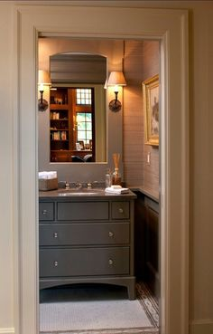 Possible inspiration to finish basement powder room Masculine bathroom with grasscloth Grey Bathrooms, Beautiful Bathrooms, Small Bathroom, Bathroom Vanities, Men's Bathroom, Bathroom Canvas, Small Sink, Concrete Bathroom, Luxury Bathrooms