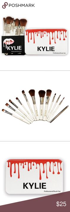 KYLIE COSMETICS ~ 12 PIECE MAKEUP TIN BRUSH SET KYLIE COSMETICS ~ PROFESSIONAL 12 PIECE MAKEUP TIN BRUSH SET  Features: 12 Pcs Makeup Brushes Set With Case Bristle: Made from high-grade synthetic fibers, with soft and comfortable touch feeling and can provide superb ability to hold powder, pleasing for your skin.  Include a complete assortment of 12 pcs brushes for makeup applications  Easy to carry. An essential for not only professionals but also home users. Makeup Brushes & Tools