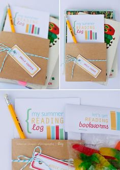 Encourage Summer reading with this FREE printable reading log. Record books read and journal about favourite books. Includes a treat bag topper to attach to a bag of gummy worms as a fun little incentive for your little readers.