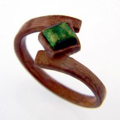 Hand Carved Wooden Emerald Ring - Wood Ring - Bentwood Ring - Wood Jewelry - Rings - Jewelry - Engagement Ring - Gemstone - Gift - For Her by SaxonWoodJewels on Etsy
