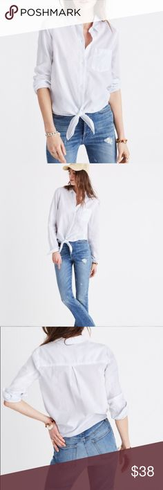 """Madewell white tie front shirt - Size XS A borrowed-from-the-boys shirt designed to be tied at the waist. High risers, meet your new best friend.   Measures 16"""" across and 23"""" in length.  True to size. Cotton.  In excellent used condition.  From a smoke free home. Madewell Tops Button Down Shirts"""