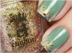 a england - She Walks in Beauty - unusual combination of greenish golden shimmer and pink glitter over Models Own - Grace Green