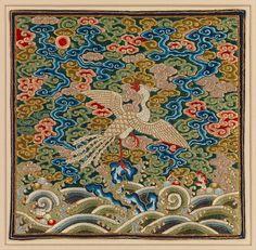 清乾隆 刺繡白鷴補 Rank Badge with Silver Pheasant Period: Qing dynasty (1644–1911), Qianlong period (1736–95) Culture: China Medium: Silk, pearls, and metallic thread embroidery on silk satin Dimensions: 10 1/4 x 10 1/2 in. (26 x 26.7 cm) Classification: Textiles-Embroidered Credit Line: Bequest of William Christian Paul, 1929