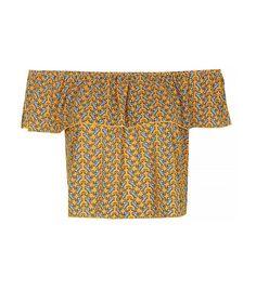 Topshop Paisley Frill Bardot Top // Off the shoulder printed crop top