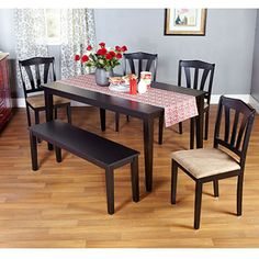 It would do for now...Metropolitan 6-Piece Dining Set with Bench, Black
