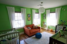 Bright Green Twins Nursery - this layout and bright color really opens up the space.