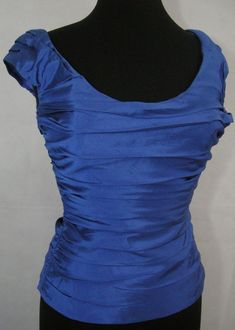 aeb43b164a Details about Ralph Lauren Black Label Royal Blue Silk Size 6 Top Formal  Pleated Sleeve Fitted