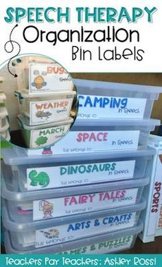 How I organize my speech therapy materials - these are the perfect labels for all my themes!