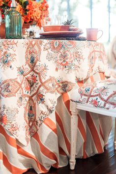 Tablescape in coral