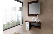 Mueble recibidor en color wengue combinado con color hueso.