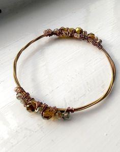 Bronze beaded guitar string bangle