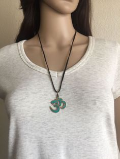 Brass OM Turquoise Pendant  Yoga  Meditation by OliviaLolaBijoux