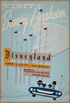 Mid Mod Disneyland travel poster