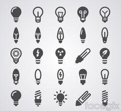25 black light bulb icon vector